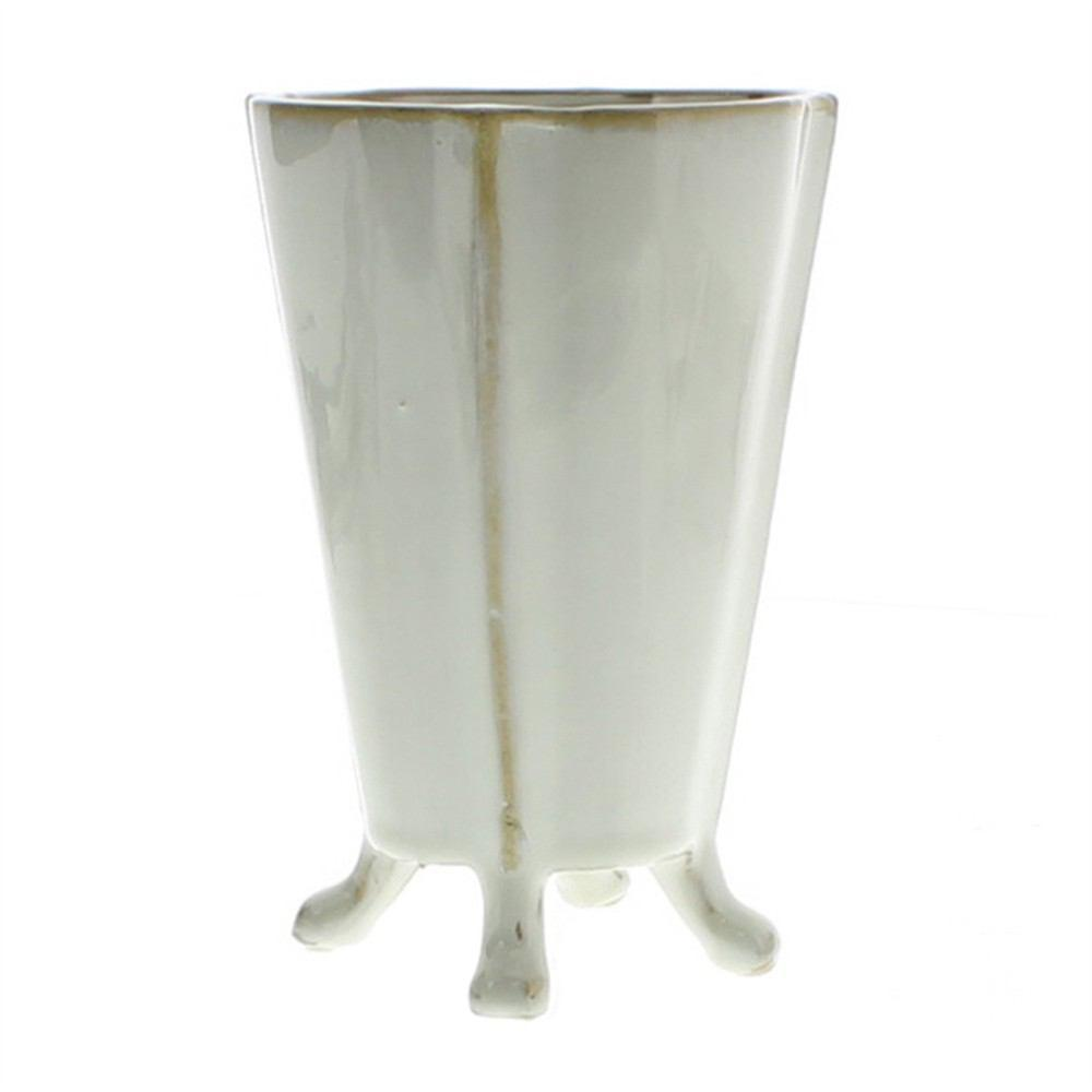 HomArt Rue Footed Ceramic Vase - Fancy White - Set of 8 - Feature Image