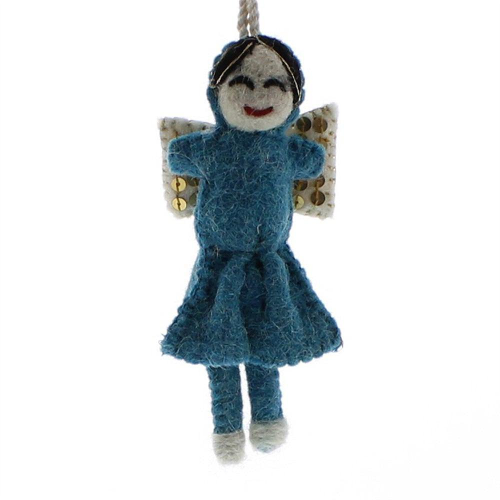HomArt Felt Sequin Angel Ornaments - Set of 6 - Teal - Yellow - Pale Pink
