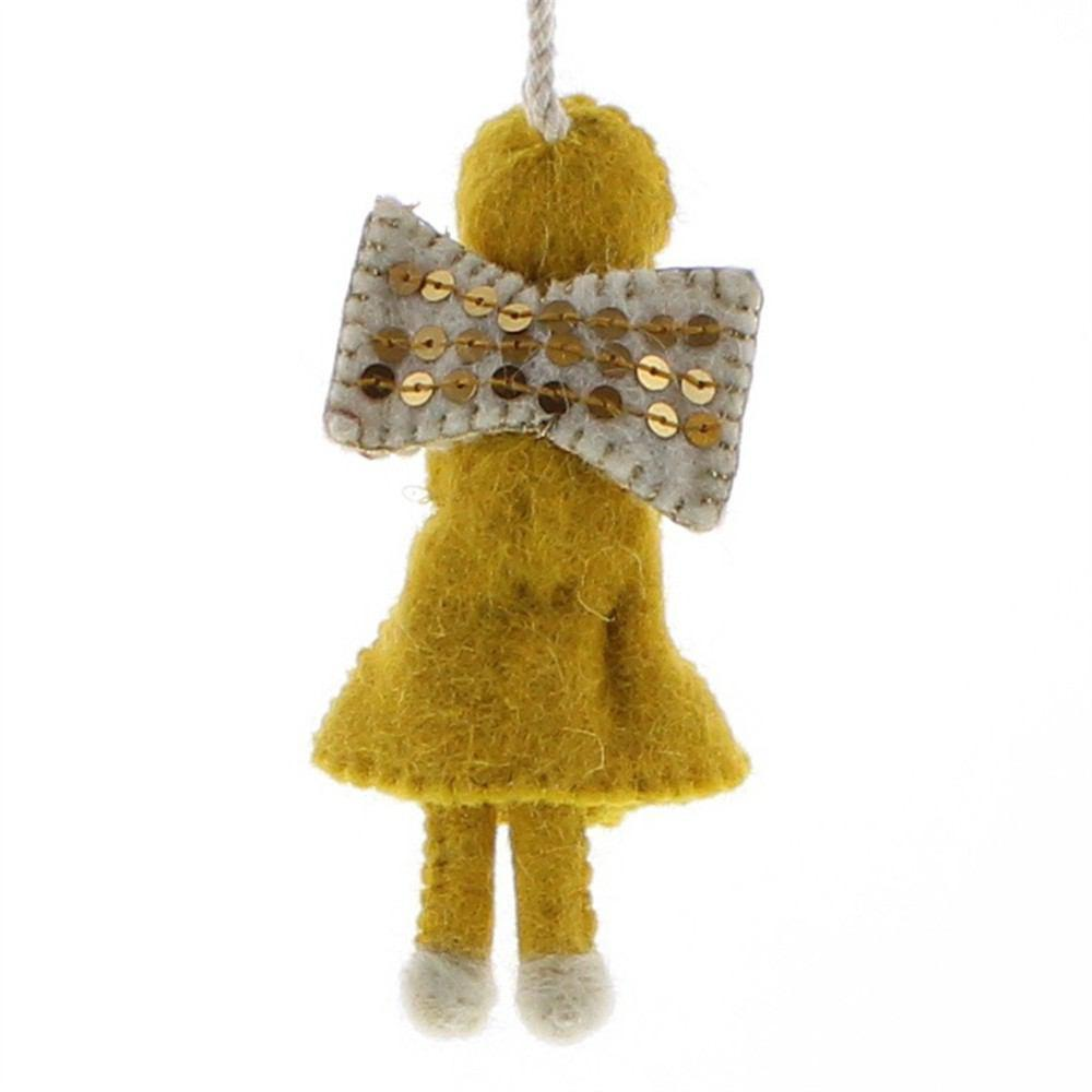 HomArt Felt Sequin Angel Ornaments - Set of 6 - Teal - Yellow - Pale Pink - Feature Image