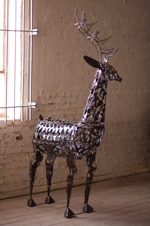Kalalou Scrap Iron Deer Sculpture