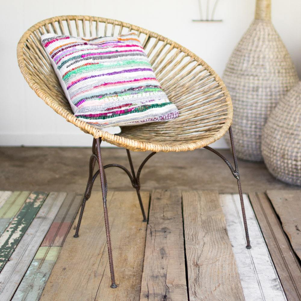 Kalalou Rush Moon Chair With Rustic Recycled Metal Frame