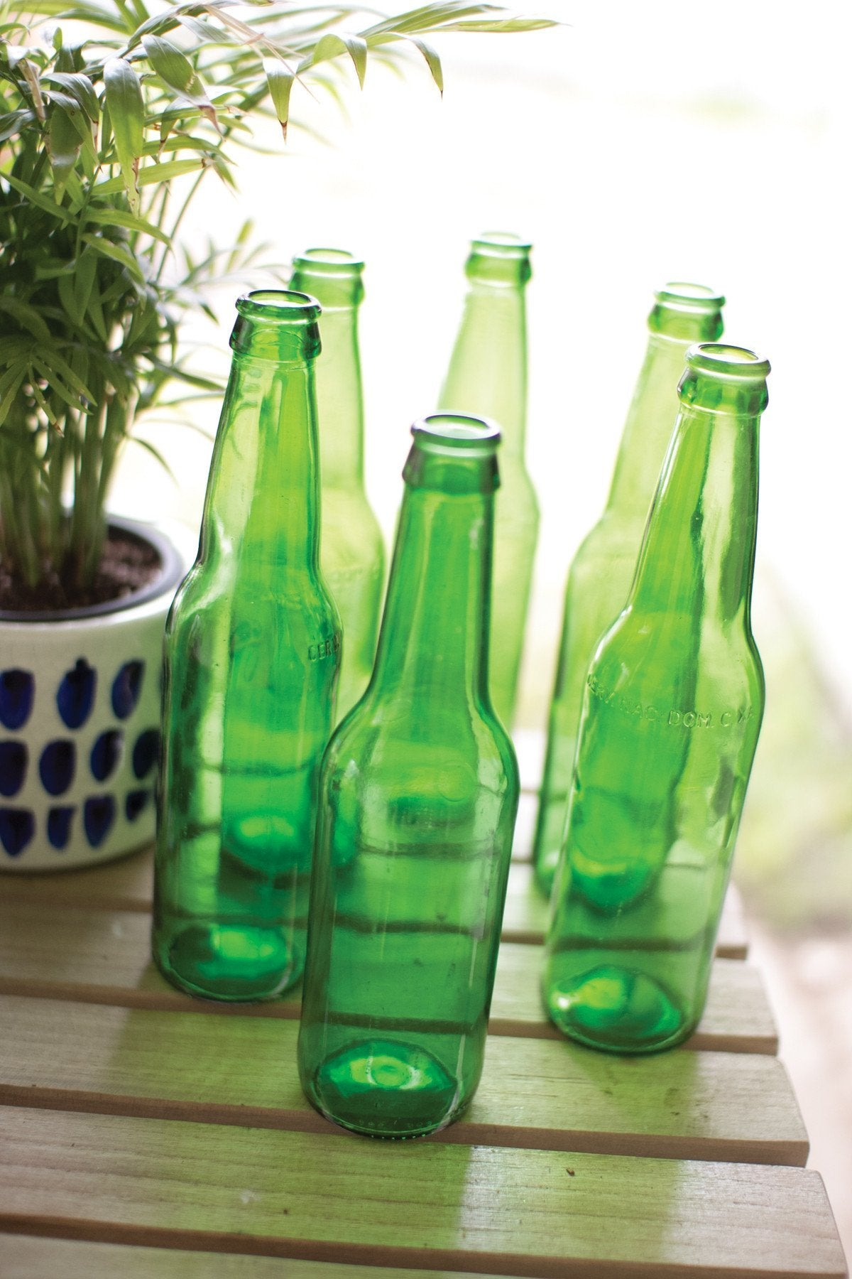 Kalalou Recycled Green Glass Bottle - Set Of 12