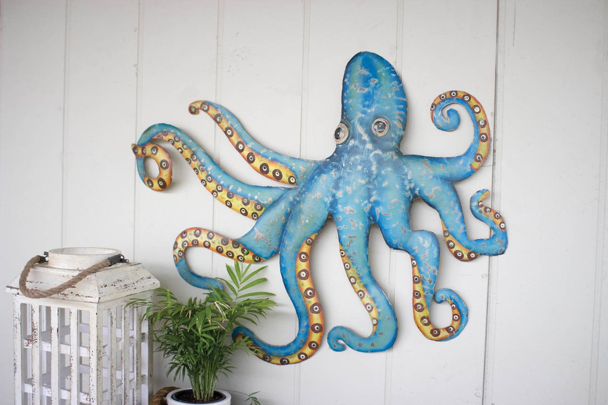Kalalou Hand Hammered Recycled Metal Octopus Wall Hanging