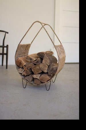 Kalalou Woven Rush And Metal Firewood Rack With Tall Handle