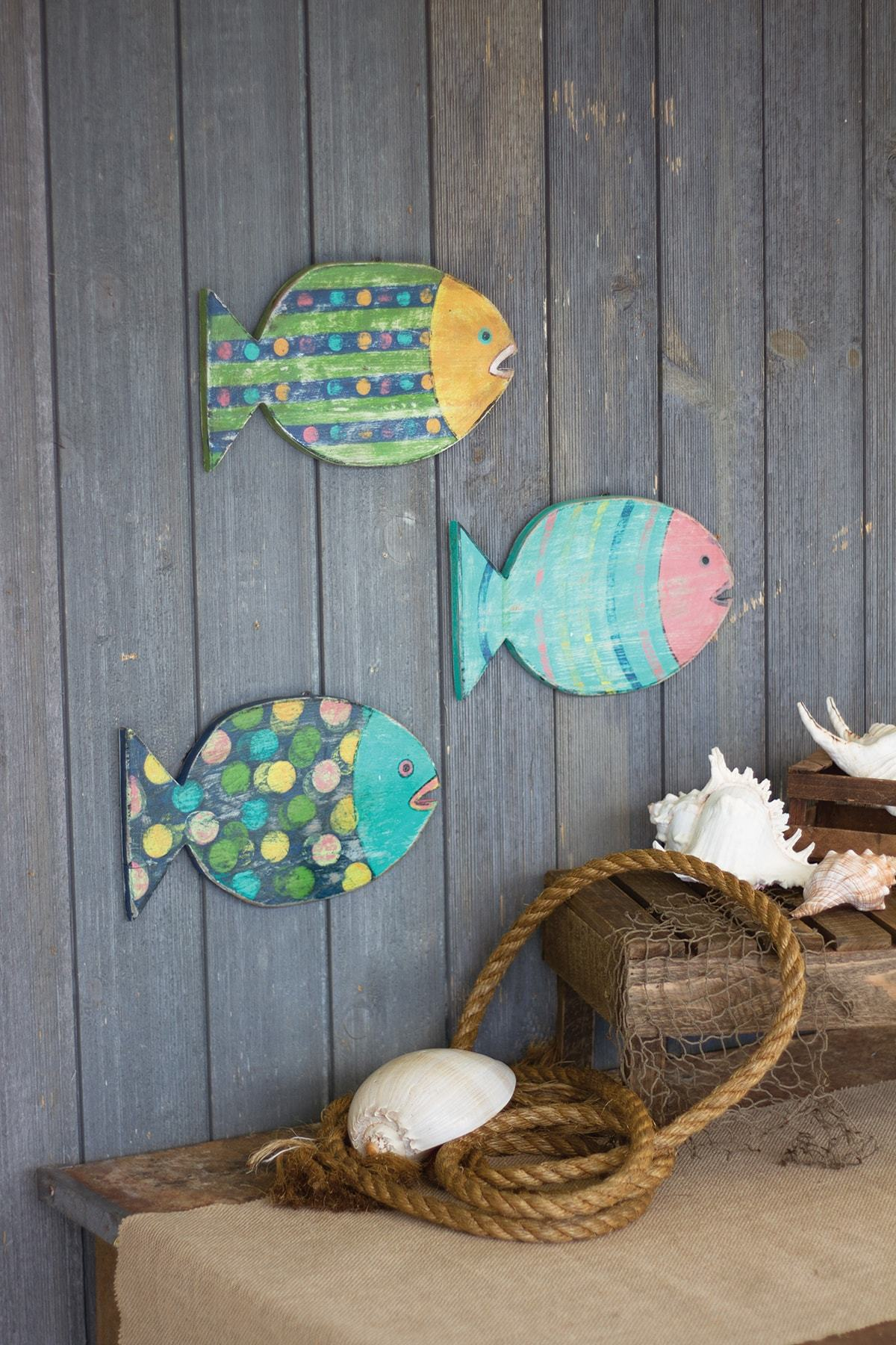 Kalalou Set Of 3 Painted Wooden Fish Wall Hangings