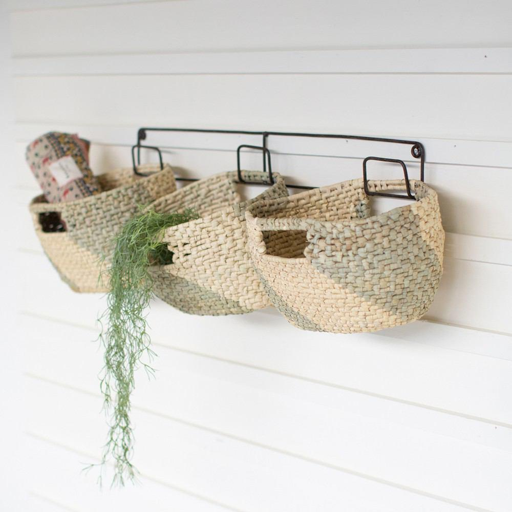 Kalalou Set Of 3 Hanging Woven Seagrass Baskets On Recycled Metal Frame