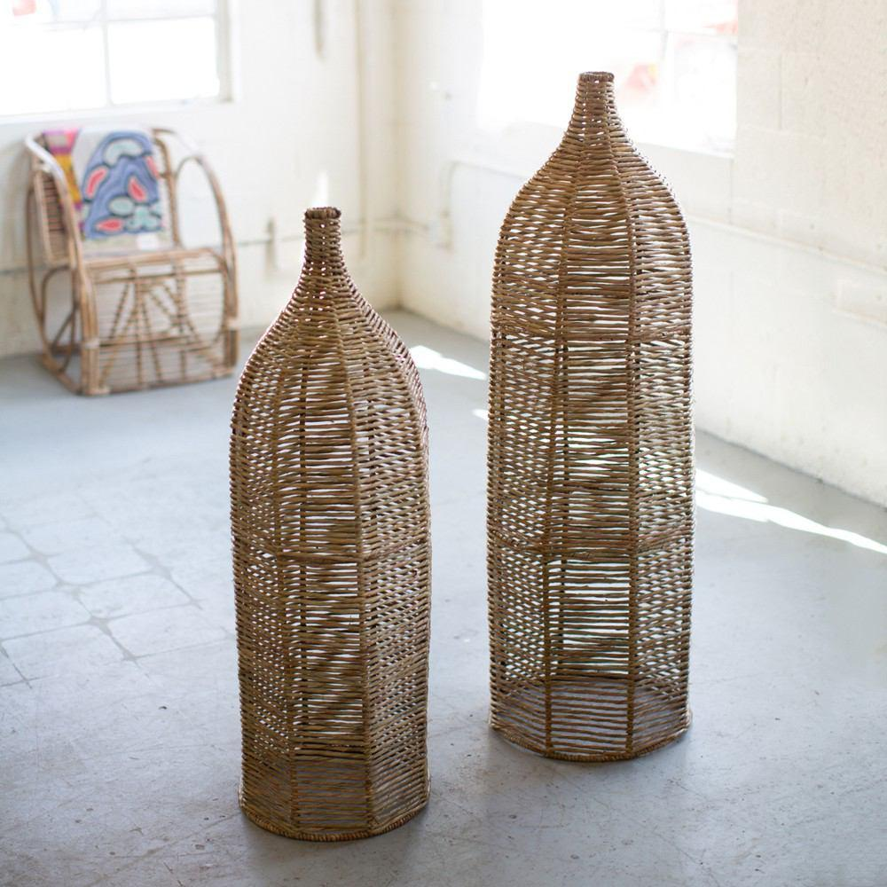 Kalalou Set Of 2 Large Seagrass And Iron Bottles