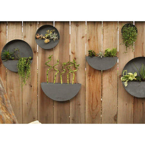 Wall Planters- Zinc Indoor/Outdoor Planters-Circle & Semi Circle by Artisan Living