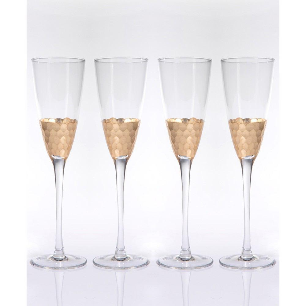 Zodax Vitorrio Gold Champagne Flutes - Set of 4