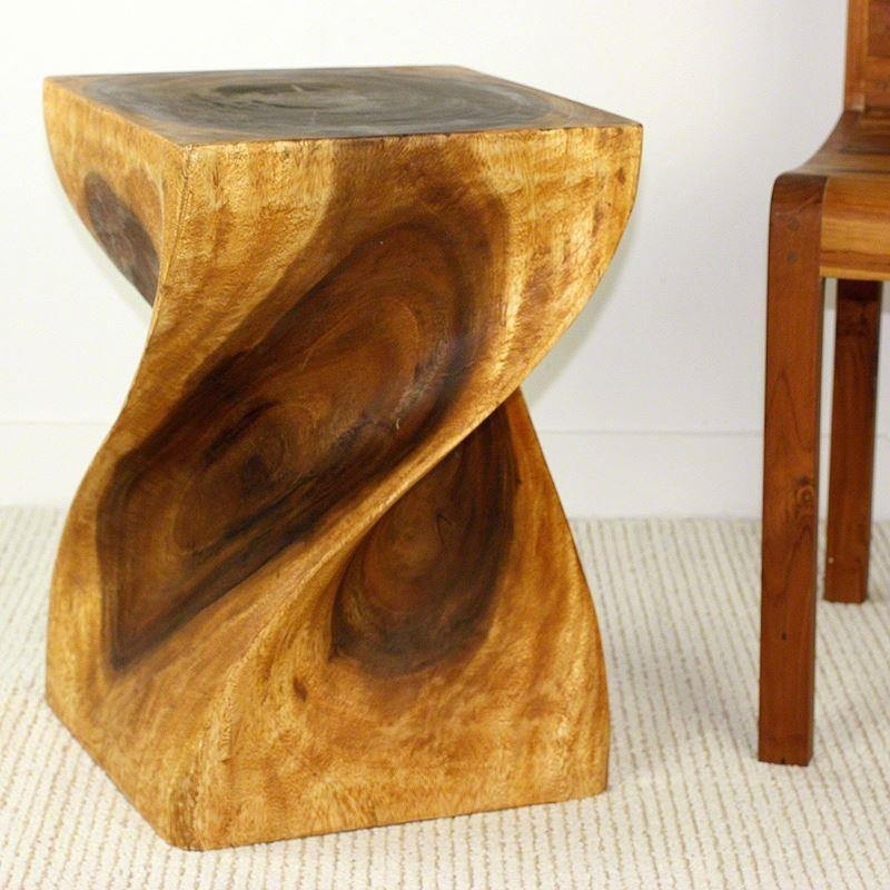 "Haussmann Big Twist Stool 14"" Sq - Oak"