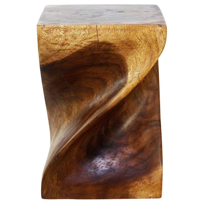 "Haussmann Big Twist Stool 14"" Sq - Walnut"