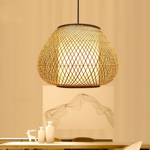 Bamboo Wicker Rattan Hand Shade Pendant Light by Artisan Living