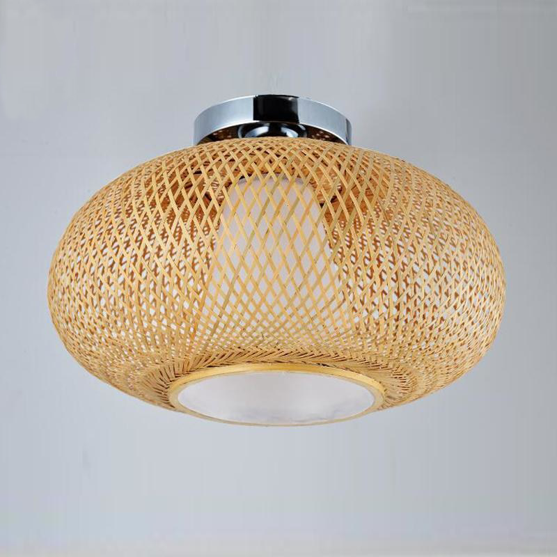 Bamboo Wicker Rattan Shade Flush Mount Ceiling Light by Artisan Living