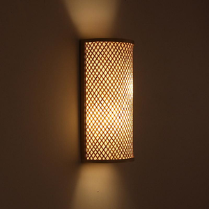 Bamboo Wicker Rattan Shade Tunnel Wall Lamp by Artisan Living