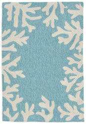 Capri Coral Bdr Aqua Indoor/Outdoor Rug