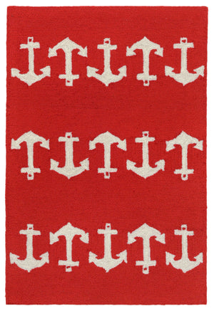 Capri Anchor Red Indoor/Outdoor Rug