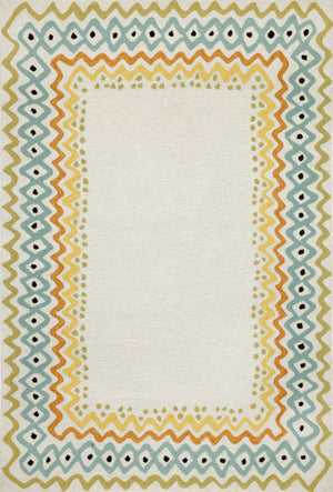 Capri Ethnic Border Pastel Indoor/Outdoor Rug