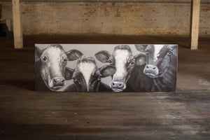 Kalalou Oil Painting - Black And White Four Cows