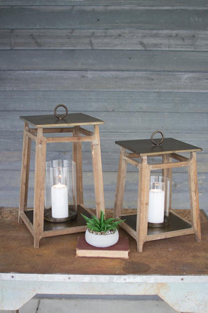 Kalalou Metal And Wood Lanterns - Set Of 3