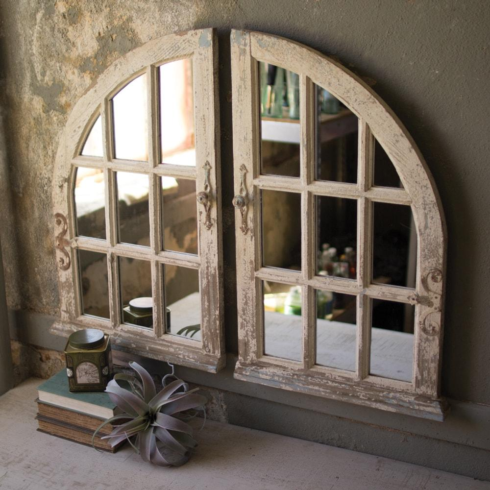 Kalalou Arched Window Mirrors - Set of 2