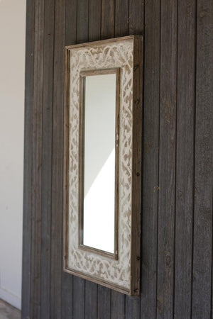 Kalalou Wooden Framed Mirror With Fluer De Lis Detail