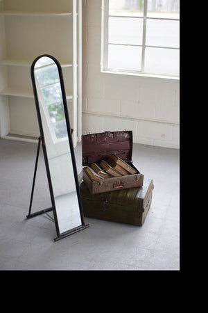 Kalalou Floor Mirror With Metal Frame And Stand