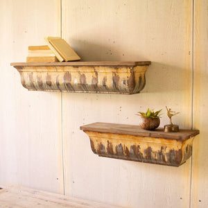 Kalalou Set Of 2 Rustic Metal Shelves With Wood Tops