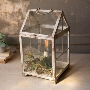 Kalalou Metal And Glass Terrarium Table Lamp