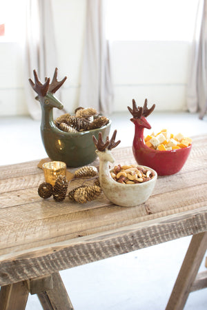 Kalalou Ceramic Deer Bowls- Set of 3- Sage, Red, White