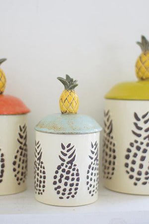 Kalalou Set Of 3 Ceramic Pineapple Canisters