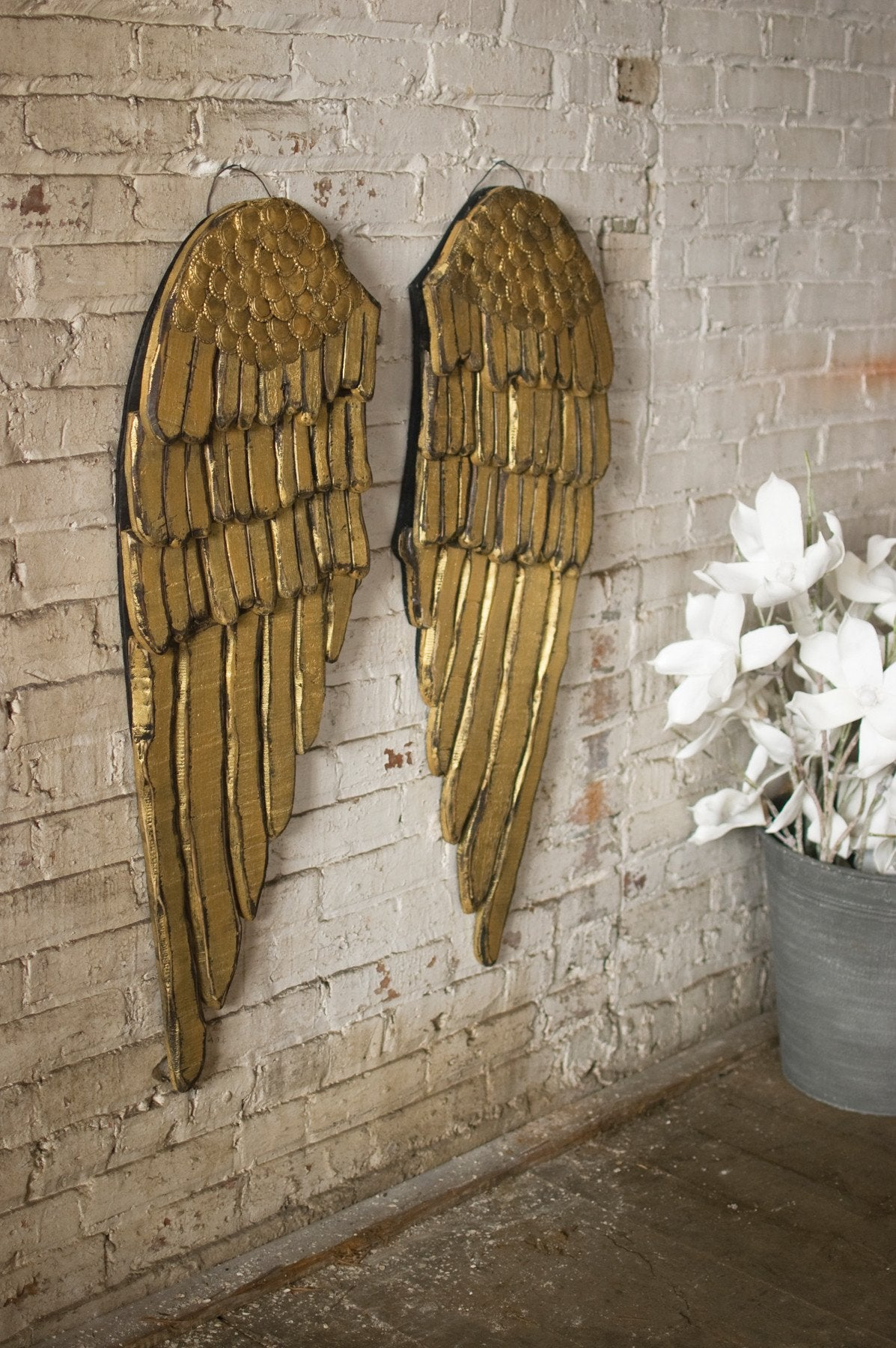 Kalalou Painted Wooden Angel Wings - Set Of 2