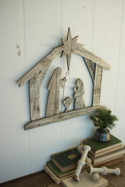 Kalalou Recycled Wood Nativity Wall Art