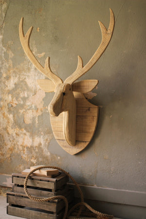Kalalou Large Recycled Wood Deer Mount