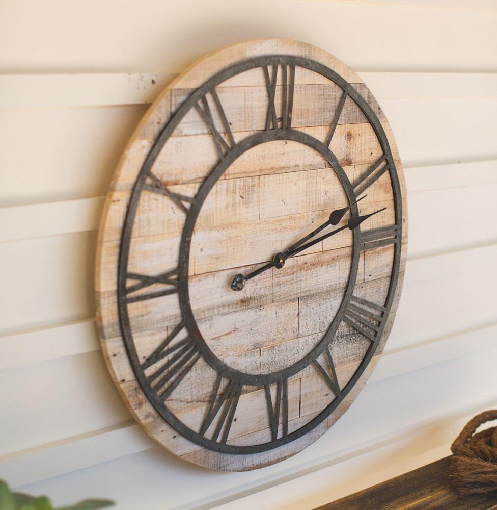 Kalalou Wood And Metal Roman Numeral Clock