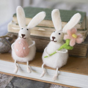 Kalalou Felt Rabbits With Flower And Egg - Set Of 2