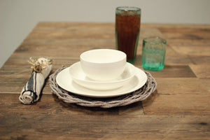 Kalalou White Ceramic Dinnerware Set - 4 Sets of 3Pcs Each