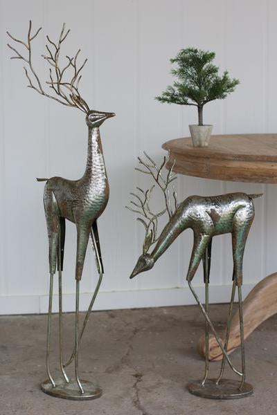 Kalalou Antique Silver Metal Deer - Set Of 2