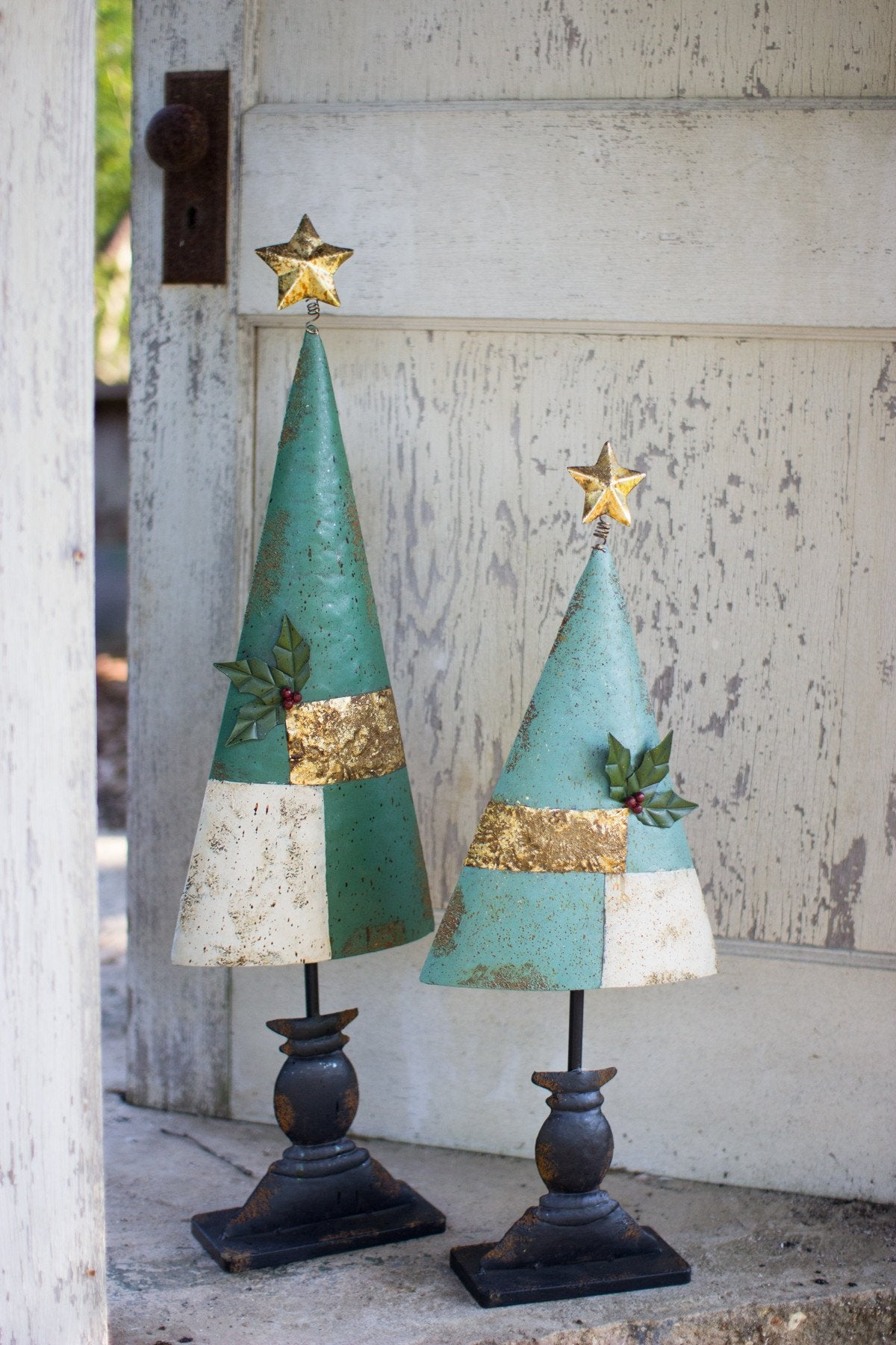 Kalalou Painted Metal Trees - Set Of 2