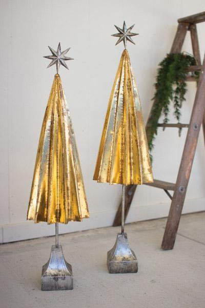 Kalalou Set Of 2 Folded Gold Metal Trees With Silver Star