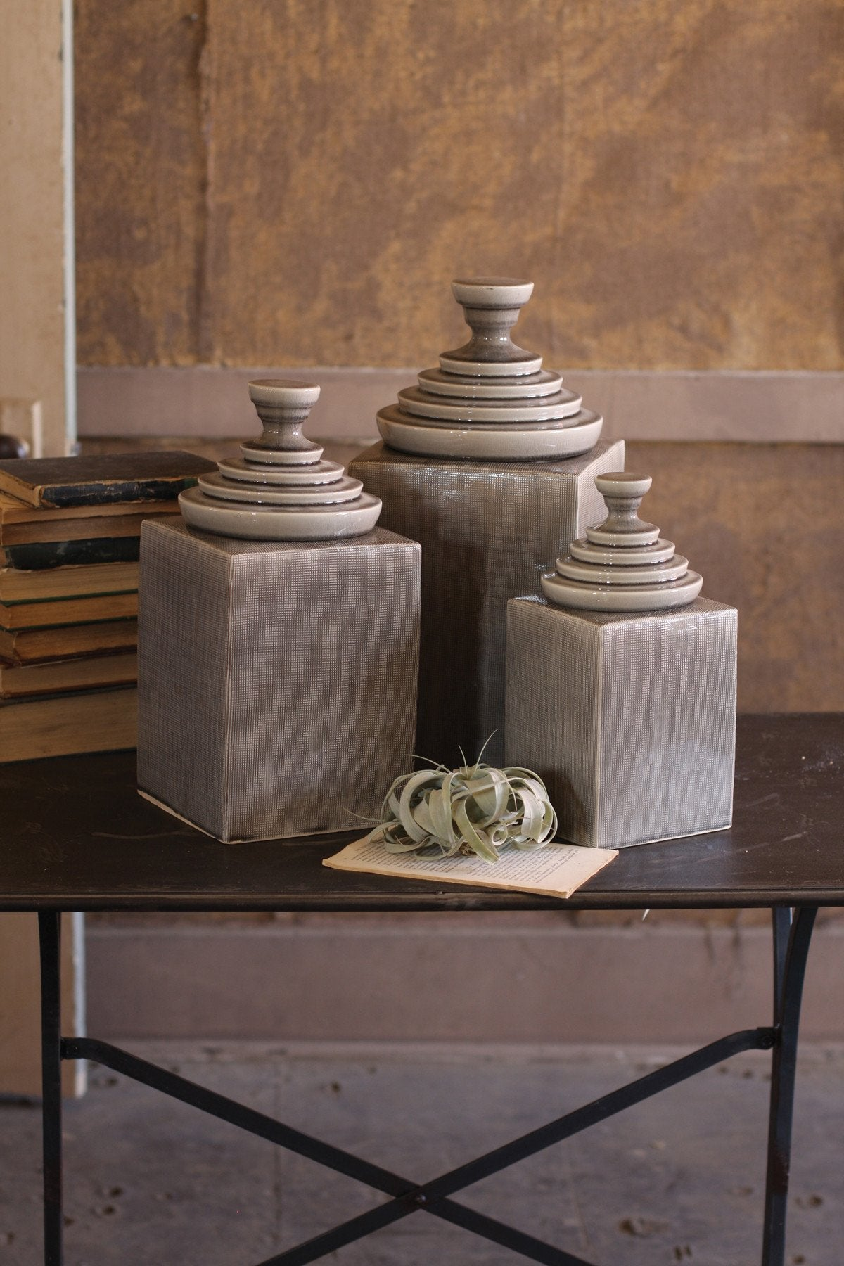 Kalalou Textured Ceramic Canisters With Pyramid Tops - Grey - Set Of 3