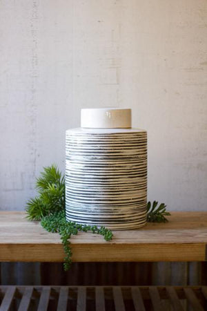 Kalalou Ceramic Grey Striped Canister
