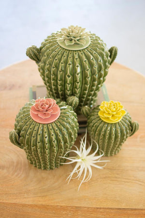 Kalalou Cactus Canisters W/ Flower Tops - Set Of 3