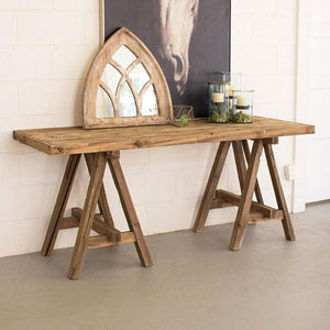 Kalalou Recycled Wooden Deep Console With Saw Horse Base