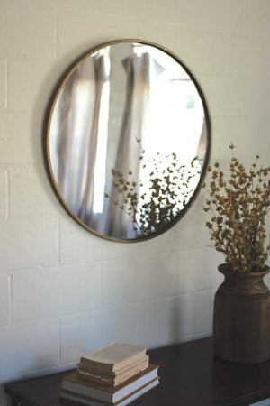 Kalalou Round Antique Brass Metal Framed Mirror