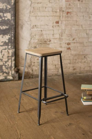 Kalalou Metal Bar Stool With Square Wooden Seat