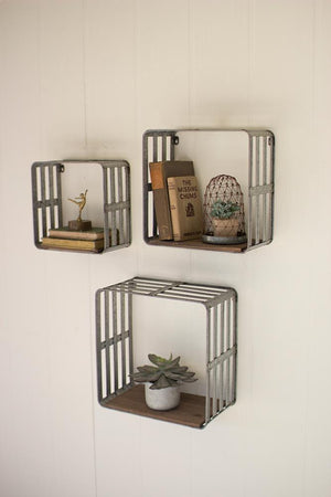 Kalalou Slat Metal And Wood Display Crates - Set Of 3