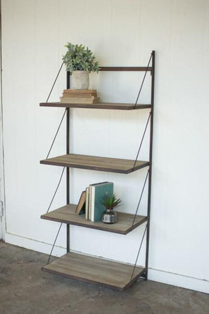 Kalalou Metal & Wood Display Rack With Folding Shelves