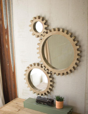Kalalou Set Of 3 Wooden Gears Mirrors