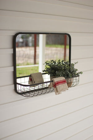 Kalalou Rectangle Mirror With Wire Basket Shelf