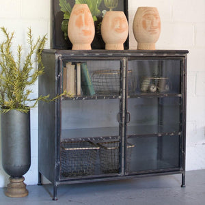 Kalalou Iron And Glass Apothecary Cabinet